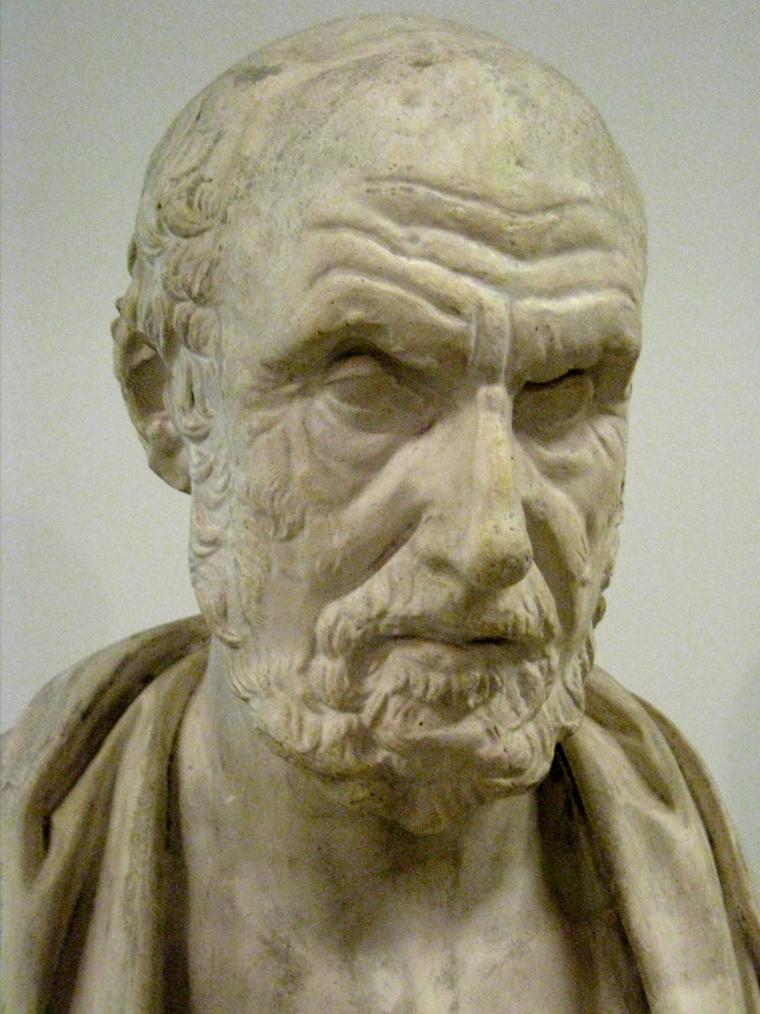 Escultura de Hipócrates, padre de la trofología