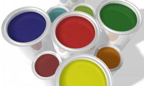 Botes de pintura de diferentes colores