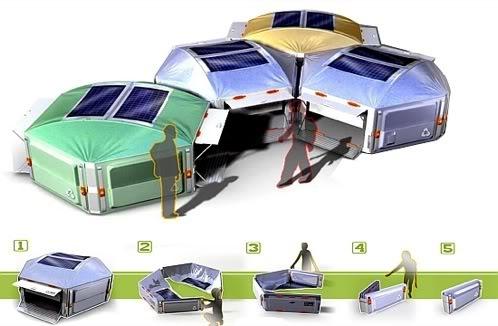 Honeycomb. La tienda de campaña modular que produce energía solar.