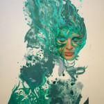 """Autora - Beatriz Concha. Título obra: """"Mujer de agua"""". Técnica: Litografía, collage y acrílico Dimensiones: 55 x 37,5. http://www.beatrizconcha.com"""