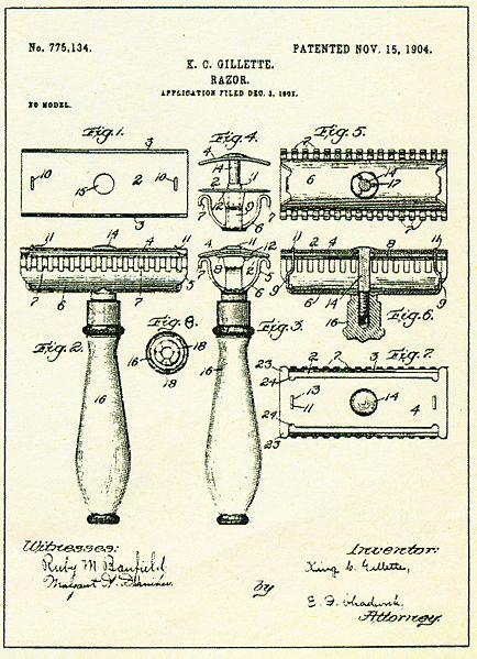 Patente de la maquinilla de afeitar tradicional inventada por Gillette