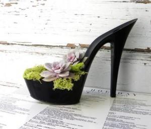 zapato vegano reconvertido en maceta