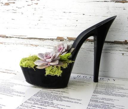 Zapato vegano reconvertido a maceta.